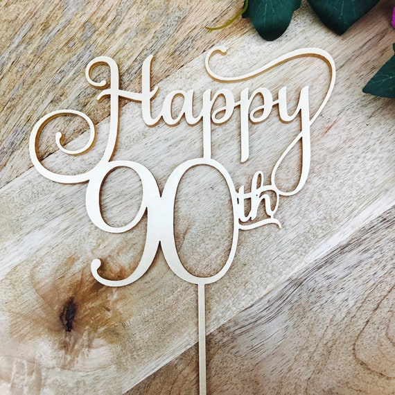 Happy 90th Birthday Cake Topper Decoration Decorating Personalised Toppers SMTHHNDL SugarBoo