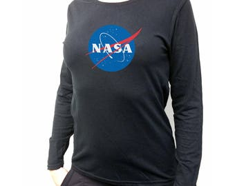 38eb6d12 Nasa Custom Long Sleeve Women's Black T SHIRT