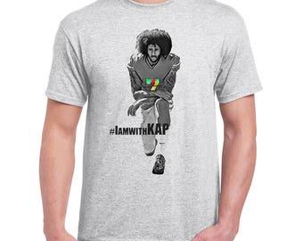 d6813b67afc Colin Kaepernick Mens Light Grey T-Shirt Long Sleeve Hoodie  IamwithKAP  Football Silent Protest Support Anti Trump Kneeling United We Stand