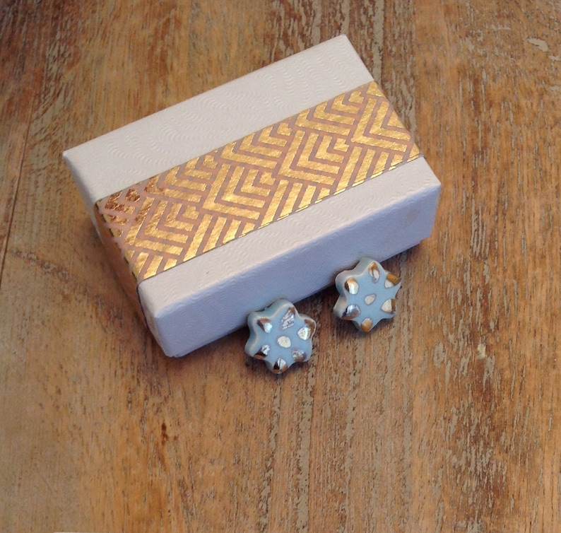 hand painted indigo eve jewellery 22k gold pale blue studs gift for her unusual gift Blue Flower Stud Earrings minimalist,