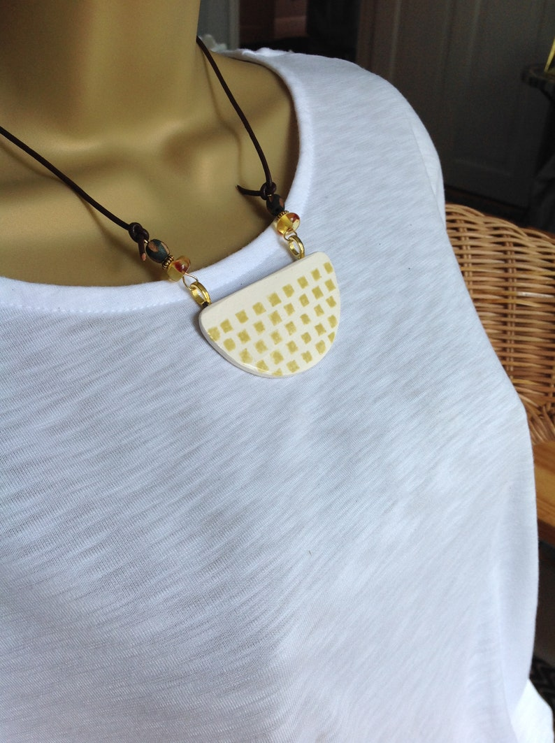 minimalist gift for her,leather and gold indigo eve jewellery geometric Ceramic bib Necklace contemporary