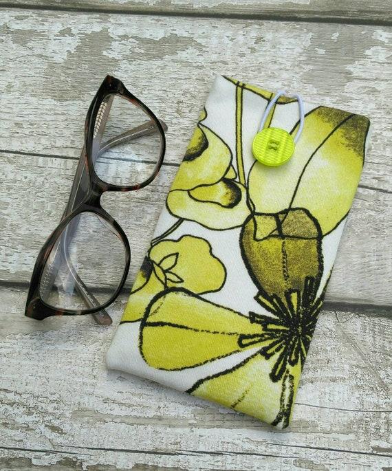 Fleurs abstraites lunettes étui coton étui rembourré confortables lunettes et lunettes de soleil yeux de verre pochette jaune motif floral