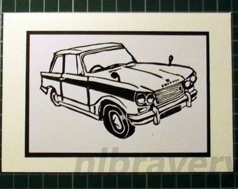 Triumph vitesse greetings card for him suitable for any occasion. Handmade and printed by hand