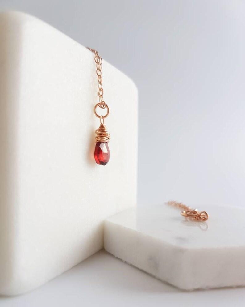 Single Gemstone Necklace \u2013 Red Garnet Necklace \u2013 January Birthstone Jewelry \u2013 Delicate Necklace \u2013 Rose Gold Fill \u2013 Birthday Gift for Her