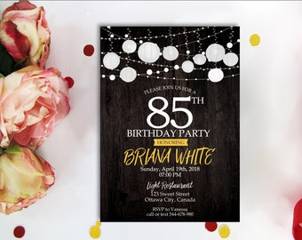 85th BIRTHDAY INVITATION Wood And White Lanterns Twinkle Light Starry Garland Lightss Birthday Invite Digital