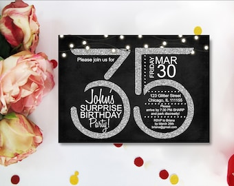 35th BIRTHDAY INVITATION Black And Silver Glitter Twinkle Light Starry Fairy Lights Birthday Invite Any Age Digital