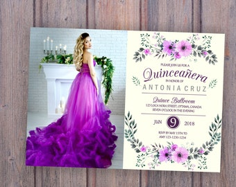 red quinceanera invitation with without photo quinceanera etsy