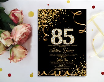 Black And Gold Confetti 85th BIRTHDAY INVITATION Diamond 85 Birthday Invitation Digital