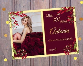c31ff2d08 Burgundy and gold Miss Quince Anos thank you card