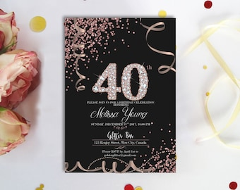 Rose Gold Diamonds 40th BIRTHDAY INVITATION Black And Confetti Birthday Invite Digital