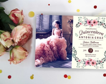 Quinceanera invites etsy ivory floral quinceanera invitation with out photo quinceanera birthday invitation quinceanera invites quinceanera party digital solutioingenieria Gallery