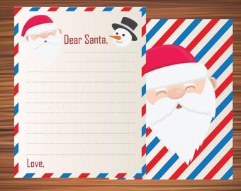 Dear Santa Christmas List Santas Wish Printable Card