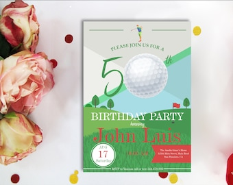 50th BIRTHDAY INVITATIONS GOLF Theme Golf Birthday Invite Par Tee Adult Printable Digital