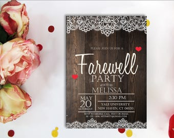 Rustic Farewell Invitation. Farewell Party Invitation, Goodbye Party  Invitation, Leaving Party Invitation, Lace, Printable Digital