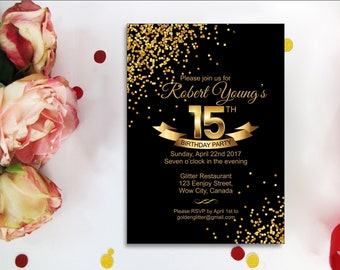 15th birthday invitation etsy gold confetti 15th birthday digital invitations for a 15 girls party with gold confetti gold wording and black background filmwisefo