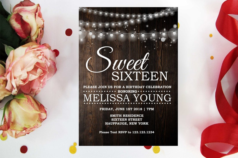 Rustic Sweet 16 Birthday Invitation 13th 16th 20th 21th 30th