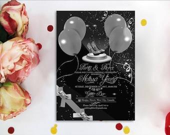 Forty birthday bash etsy silver balloon 40th birthday party invitation high hell invitations high heel shoes birthday invitation confetti hello 40 forty fierce stopboris Images