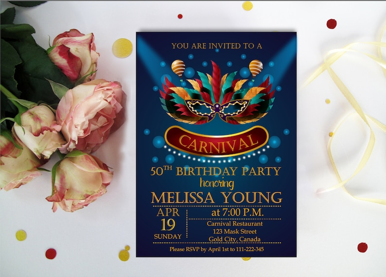 50th BIRTHDAY MASQUERADE INVITATIONS Carnaval Mardi Gras