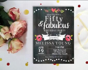 fifty & fabulous invitation. 50th birthday invitation Chalkboard, Surprise Birthday, Backyard string lights, Adult birthday, Digital