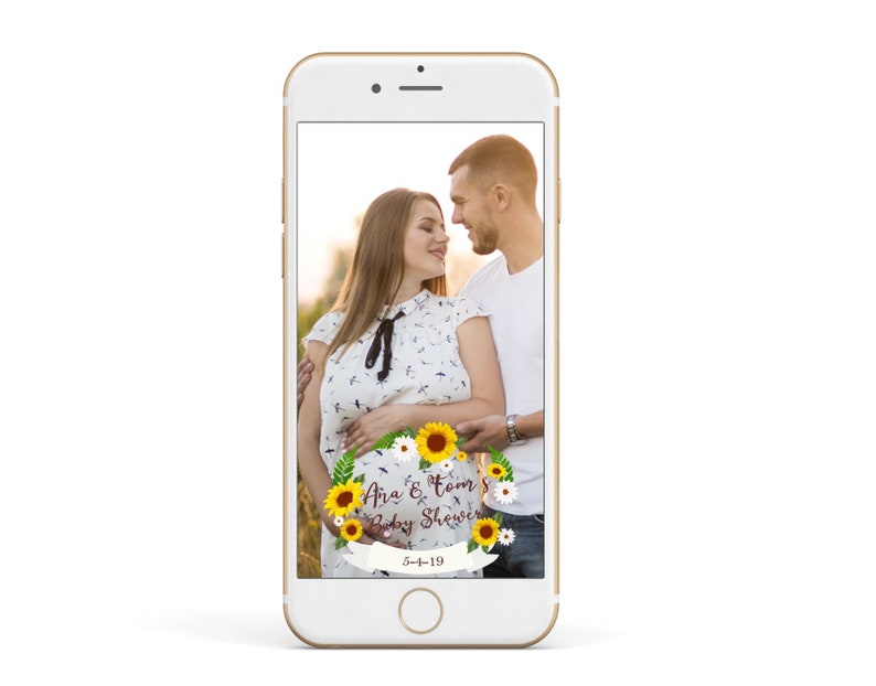 White and yellow Baby Shower Snapchat Geofilter Any Wording Sunflowers Geofilter Summer Snapchat Geofilter Sunflowers Filter