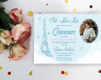 Eiffel tower Quinceanera invitation. Paris Quinceanera Invitation, Retro Quinceanera Invites, Sweet Sixteen, Paris Birthday, Digital
