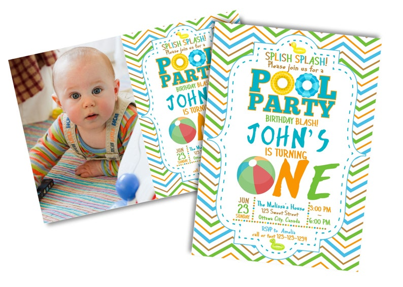 1st Birthday Pool Party Invitation Swimming