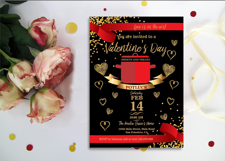 VALENTINE\'s Day POTLUCK INVITATION. Valentine\'s Day   Etsy