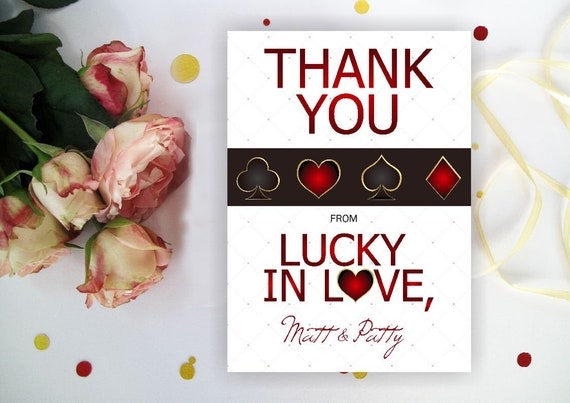 Lucky In Love Thank You Card Casino Thank You Note Etsy