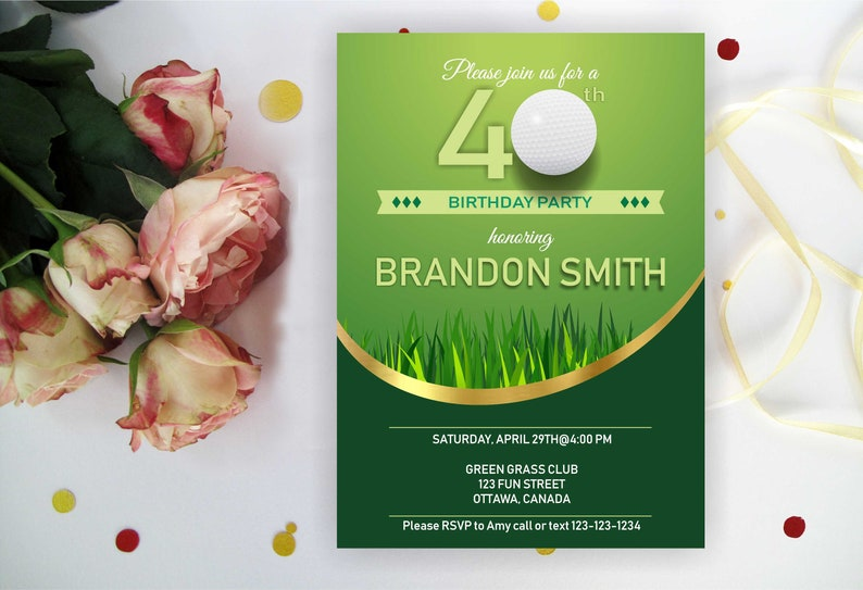 Elegant 40th BIRTHDAY INVITATIONS Party GOLF Theme Golf