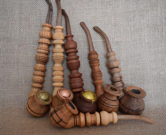 Souvenir smoking pipesl Tobacco pipes Set of 5 pipes Wooden pipes Tobacco smoking pipe Wood pipe Wood carving Smoking pipes