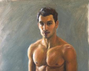Male Figure, Handsome Man, Male Portrait, Original Oil Painting, Beautiful Body, Contemporary Realism, Fine Art, Oil on Canvas, Pat Kelley