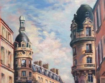 "Paris France, Rooftops in Passy, Original Oil Painting, Impressionist Paris Cityscape, Romantic Parisian Scene, Realist Fine Art, 14""x11"""