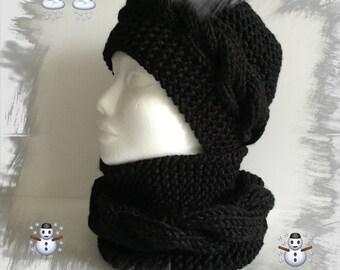 88911447edce Ensemble bonnet et snood pour Femme ou Ados, bonnet torsade, tour de cou  snood, écharpe snood, laine d hiver épaisse douce et chaude, noir