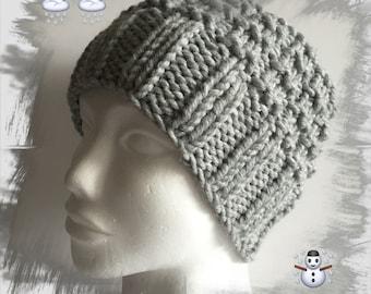 ecf75fa66e81 Bonnet en laine homme femme ados, laine d hiver épaisse douce et très  chaude, idéal pour passer l hiver au chaud, coloris gris perle