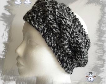 faff85fd412a Bandeau, Headband, Cache oreilles, Serre-tête pour femme ou ados en laine d hiver  épaisse douce et chaude, coloris gris noir