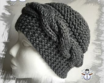 Wool with cables for women or teens hat, knitted hat with one thick winter wool soft and comfortable, dark grey
