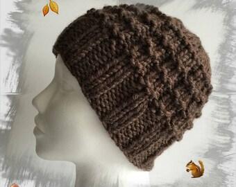 Wool men/women/teens, very warm and soft thick winter wool hat, ideal for winter warm brown dark