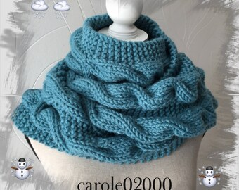Large scarf with cables for adult/women/teens, thick winter wool very warm soft and cozy, blue green turquoise