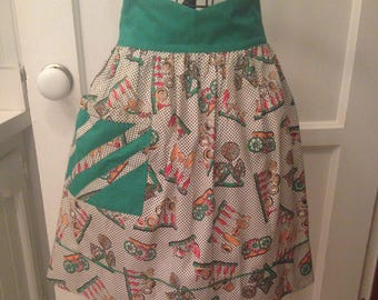 Vintage Half Apron--KITCHEN GADGET Cotton Fabric W/Kelly Green Trim--Everything Kitchen(Funnels, Ladles/Spatulas/Measuring Spoons/Sifters