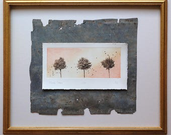 Original etching: 'Three Trees', hand printed from a solar plate. Limited edition.