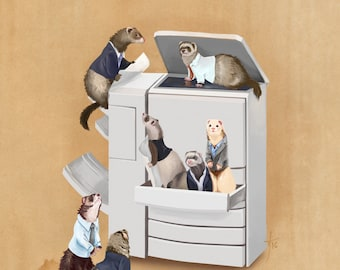 Business Ferrets Art Print // pigment print, archival, 11x14 // ferrets doing business, collective noun, gifts for ferret lovers, work