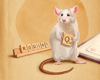 Rat playing a game Art Print // pigment print, archival 11x14 // reading rat, art gifts for readers, art for kids, rat lovers