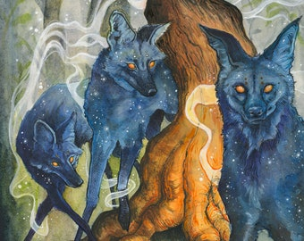 "The Guardians wolves in forest art print // 11x14"" // creepy art, maned wolf, stars, astronomy art, trees, forest, mystical, mysterious"