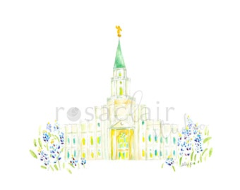 LDS Houston Texas Watercolor Temple Print Wedding Custom Personalize Baptismal Gift Mission Birthday Home