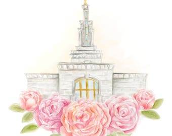 LDS Columbia River Washington Temple Watercolor Print Wedding Home Gift Floral Painting Art Baptism Birthday Custom Personalize Christmas