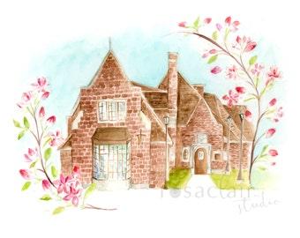 Custom Watercolor House Portrait, Home portrait, Anniversary Gift, Housewarming, Christmas