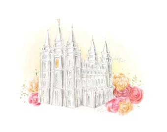 LDS Utah Salt Lake Temple Watercolor Print Wedding Home Decor Gift Floral Rose Painting Art Baptism Birthday Custom Personalize