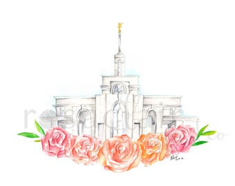 LDS Mount Timpanogos Utah Temple Watercolor Print Wedding Home Decor Gift Floral Painting Art Baptism Birthday Custom Personalize Christmas