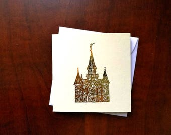 4 Gold Foil LDS Temple Mini Tiny Square Greeting Note Card Gift Young Women Primary Relief Society Christmas Birthday