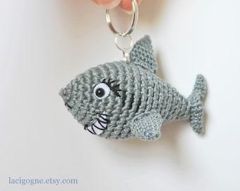 Keychain the Shark Amigurumi Crochet Tiny Toy Pattern Amigurumi shark Crochet shark Amigurumi pattern Crochet toy Birthday Small Gift